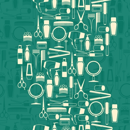 hair dryer: Hairdressing tools seamless pattern in retro style. Illustration