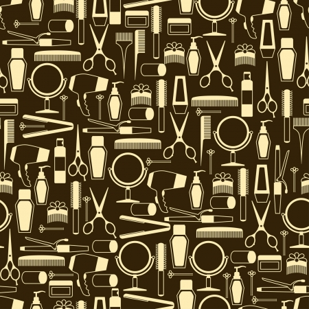 Hairdressing tools seamless pattern in retro style. Illustration
