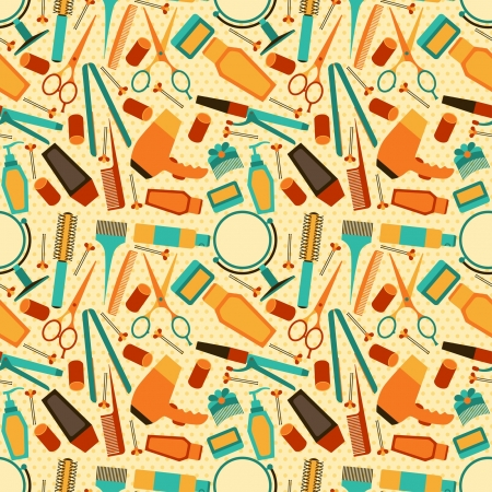 hairstylist: Hairdressing tools seamless pattern in retro style. Illustration