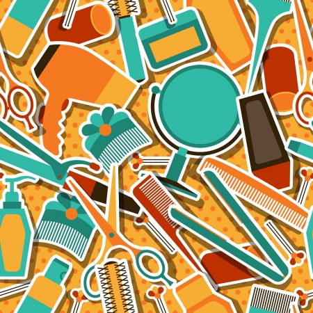 Hairdressing tools seamless pattern in retro style. Stock Vector - 21535700