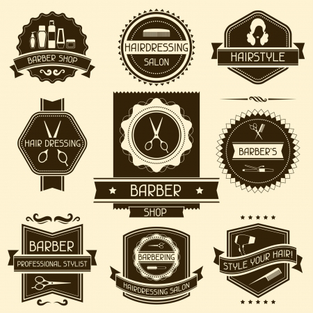 barbeiro: Conjunto de barbeiro emblemas loja em estilo retro.