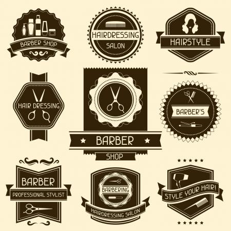 Set of barber shop badges in retro style. Illustration