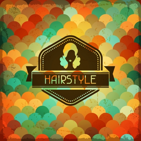 hairstylist: Hairdressing background in retro style.