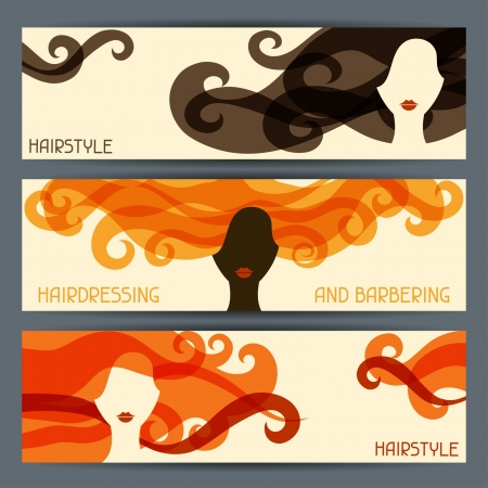 Hairstyle horizontal banners. Çizim