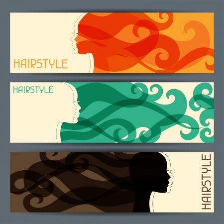 hair curl: Hairstyle horizontal banners. Illustration
