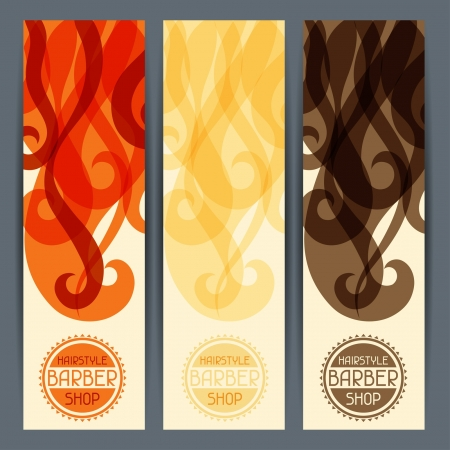 Hairstyle vertical banners. Vector
