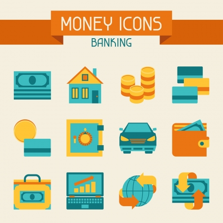 house exchange: Set of money and banking icons. Illustration