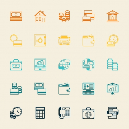old business man: Set of business and banking icons. Illustration