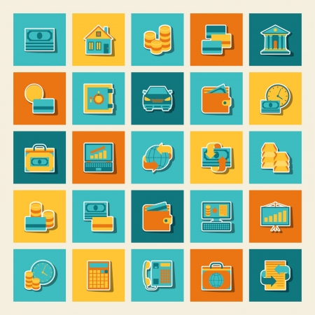 car loan: Set of business and banking icons. Illustration