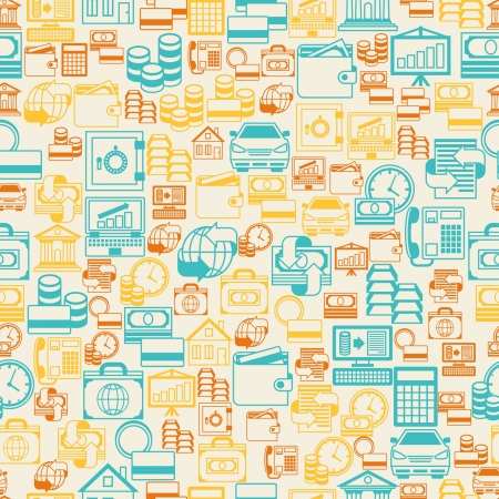 Seamless pattern of banking icons. Vector