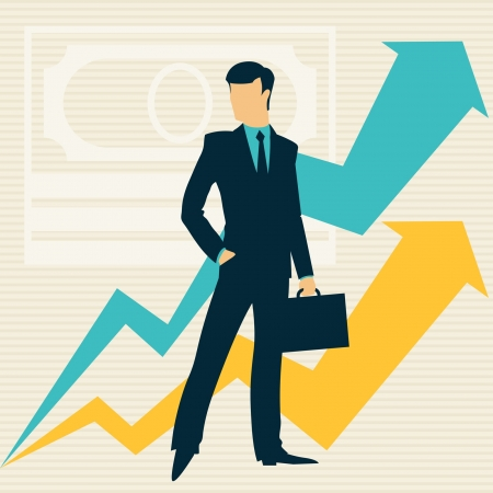 Businessman and growing statistics. Vector