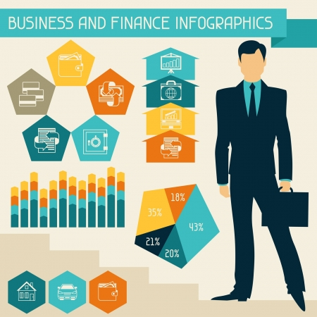 invoices: Business and finance infographics. Illustration