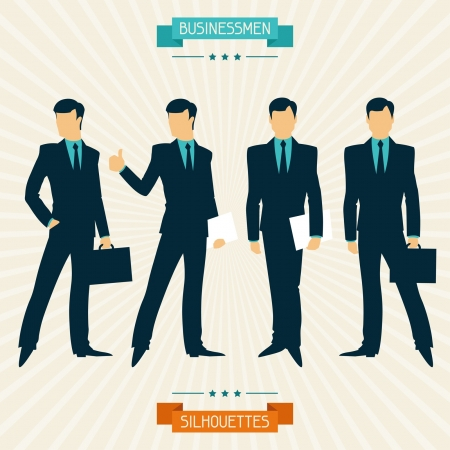 paper case: Silhouettes of businessmen in retro style. Illustration