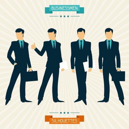 suit case: Silhouettes of businessmen in retro style. Illustration