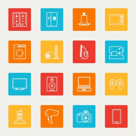 Set of home appliances and electronics icons. Vector