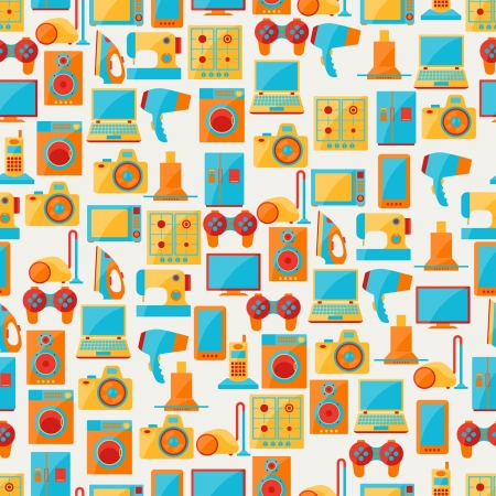 Home appliances and electronics seamless patterns. Stock Vector - 21701614