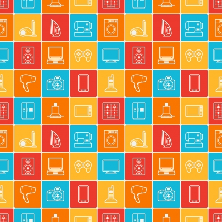 electronics store: Home appliances and electronics seamless patterns.