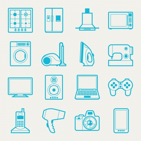 electronics icons: Set of home appliances and electronics icons.