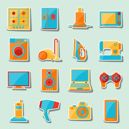 extractor: Set of home appliances and electronics icons.