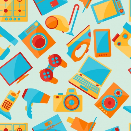 Home appliances and electronics seamless patterns. Vector