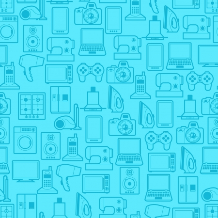 shopping centre: Home appliances and electronics seamless patterns.