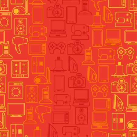 Home appliances and electronics seamless patterns. Stock Vector - 21701622