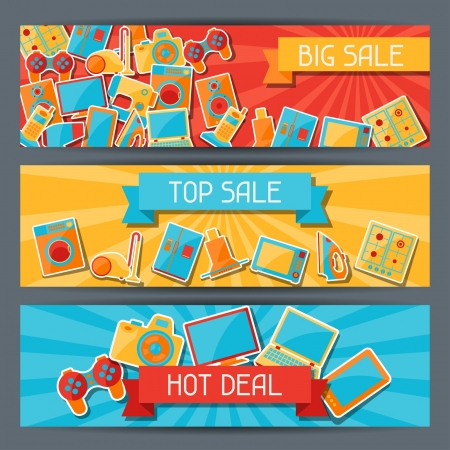 appliances: Home appliances and electronics horizontal banners. Illustration