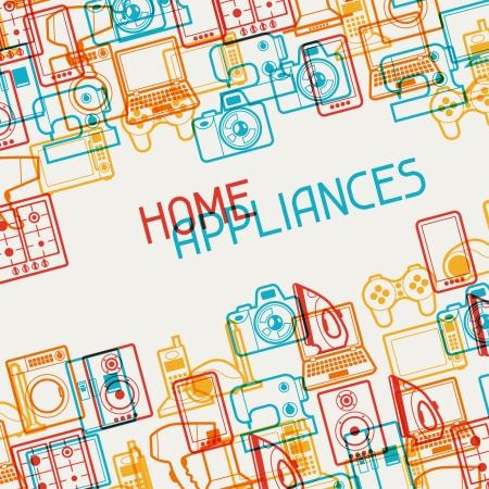 ホーム家電や電子機器の背景。  イラスト・ベクター素材