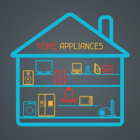 Home appliances and electronics background. Vector
