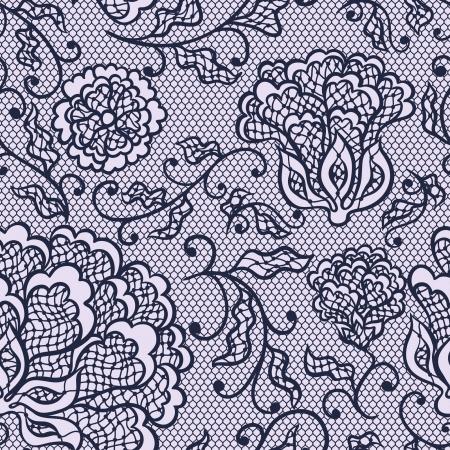 fringe: Old lace background, ornamental flowers. Vector texture. Illustration