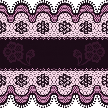 Old lace border, abstract ornament. Vector texture. Vector