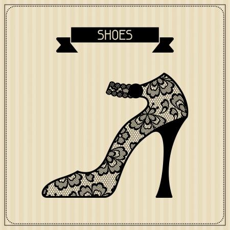 Shoes. Vintage lace background, floral ornament.