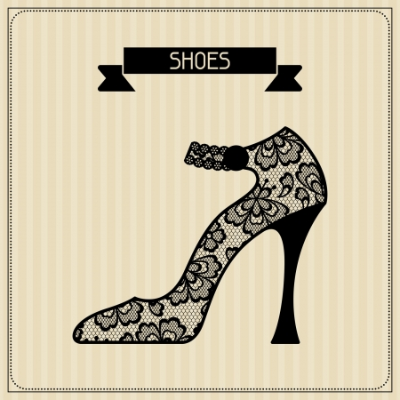 Shoes. Vintage lace background, floral ornament. Vector