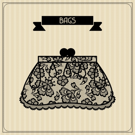personal accessory: Bags. Vintage lace background, floral ornament.