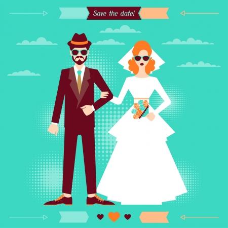 Plantilla de tarjeta de invitación de la boda en estilo retro.