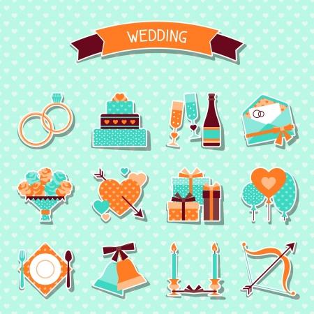 anillos de boda: Conjunto de iconos de boda retro y elementos de dise�o.