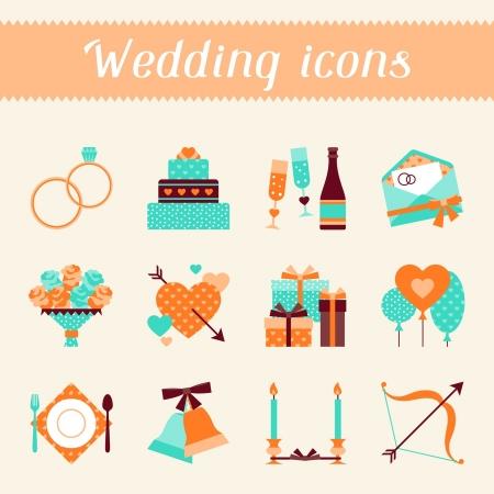 Conjunto de iconos de boda retro y elementos de diseño.
