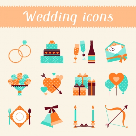 wedding cake: Set of retro wedding icons and design elements.