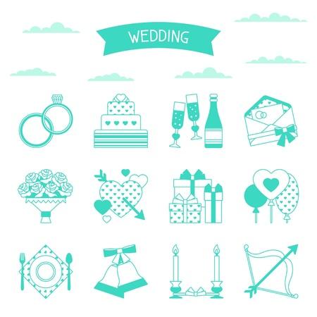 düğün: Retro düğün simgeler ve tasarım öğeleri ayarlayın. Çizim