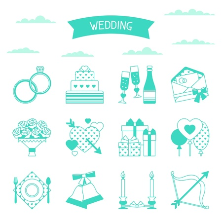 champagne celebration: Set of retro wedding icons and design elements.