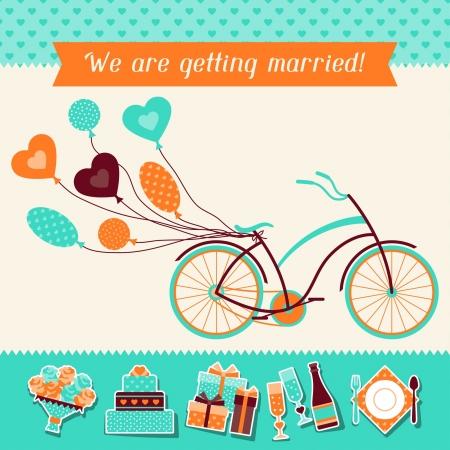 bike cover: Wedding invitation card template in retro style.