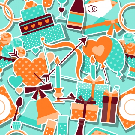 Seamless wedding pattern in retro style. Vector