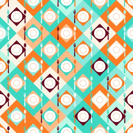 Seamless pattern with forks, spoons and plates in retro style. Vector
