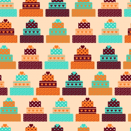 Seamless pattern with cakes in retro style. Vector