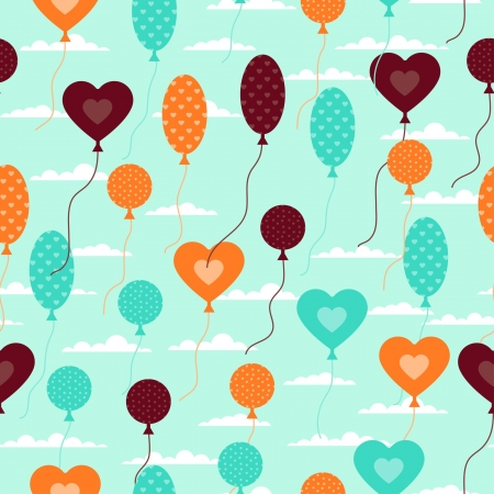 Seamless pattern with balloons in retro style. Vector