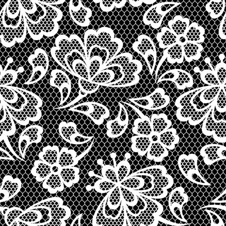 Old lace seamless pattern, ornamental flowers. Vector texture. Illustration