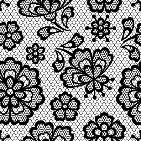 Old lace seamless pattern, ornamental flowers. Vector texture. Vector