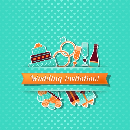Wedding invitation card with stickers in retro style  Vector