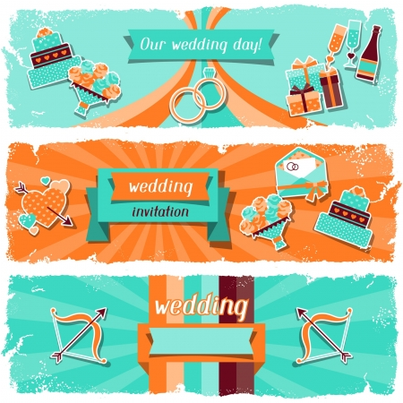 Wedding invitation horizontal banners in retro style  Vector