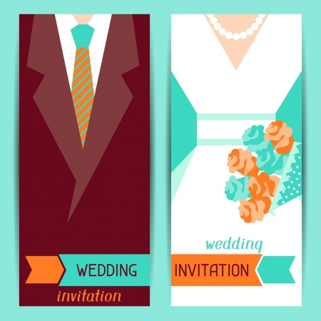 Wedding invitation vertical cards in retro style  Illustration